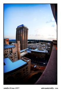 Sandton City photographed from high up and processed to look like it has been shot with a Lomo Camera photographed by Marcus Maschwitz