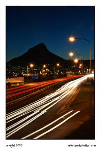 Night shot on a freeway in Cape Town photographed by Marcus Maschwitz