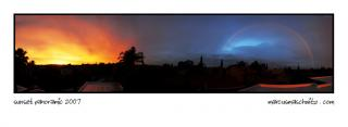 Sunset, rain and rainbow panoramic of Johannesburg photographed by Marcus Maschwitz