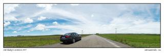 Panoramic photograph of my Audi A4 parked on a side road on during a road trip to Woodstock 9 that was held in Harrismith just off the N3 highway photographed by Marcus Maschwitz