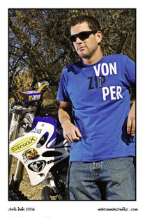Portrait of Chris Irwin from Ride Authority with his Yamaha freestyle motocross bike photographed by Marcus Maschwitz