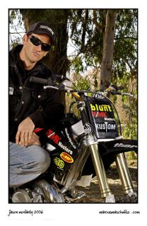 Portrait of Jason Moriarty from Ride Authority with his Honda freestyle motocross bike photographed by Marcus Maschwitz