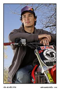 Portrait of Sick Nick De Witt from Ride Authority with his Honda freestyle motocross bike photographed by Marcus Maschwitz