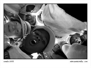 A group of happy children at a food shelter in Soweto photographed by Marcus Maschwitz