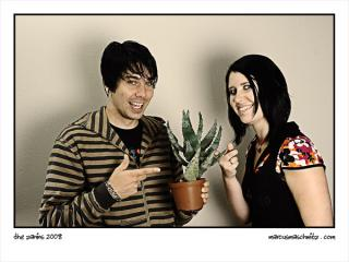 Warren and Andrea Zanin with a cactus portrait before moving to London photographed by Marcus Maschwitz