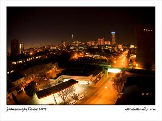 Johannesburg city at sunset as seen with a fisheye photographed by Marcus Maschwitz