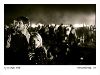 Alan Shenton and Claire Scott drinking hot chocolate at My Coke Fest 2008 photographed by Marcus Maschwitz