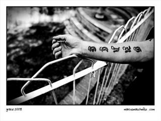 Justin Davies is saved by Grace and his tattoo is a reminder of this photographed by Marcus Maschwitz