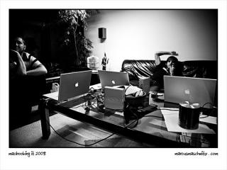 The crew with their Macbook Pro's photographed by Marcus Maschwitz