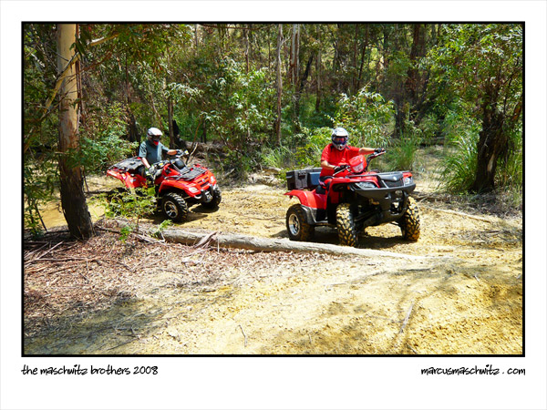 Gerhard Maschwitz and Robert Maschwitz riding quad bikes at Maraisburg mine dumps in 2008 photographed by Marcus Maschwitz