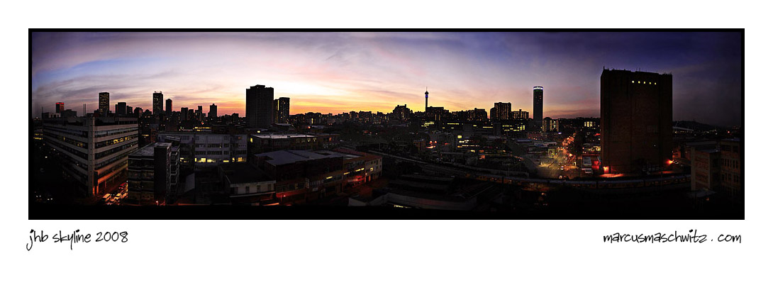 johannesburg city skyline at sunset photographed by marcus maschwitz