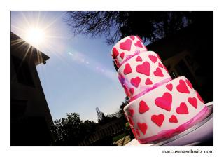wedding cake in the sun photographed by marcus maschwitz