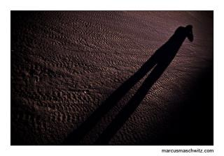 my shadow on the sand during sunset in muldersdrift photographed by marcus maschwitz