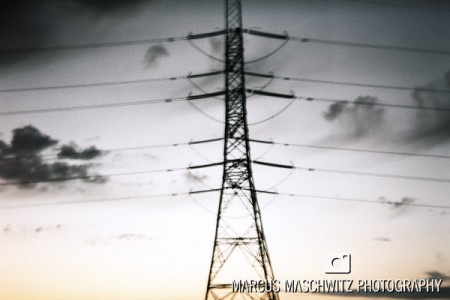 holga shot of powerlines at sunset