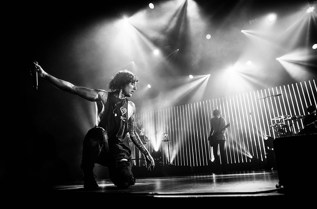 Oli Sykes of Bring Me The Horizon photographed live on stage in Paris by Marcus Maschwitz