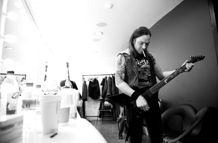 Michael Paget of Bullet For My Valentine photographed backstage by Marcus Maschwitz