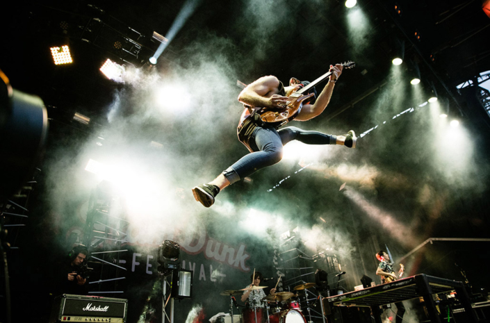 Simon Delaney of Don Broco photographed live at a festival by Marcus Maschwitz