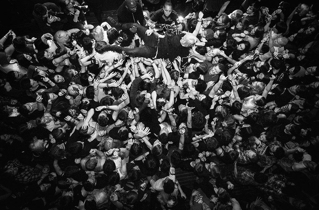 Sean Smith of The Blackout photographed crowd surfing by Marcus Maschwitz