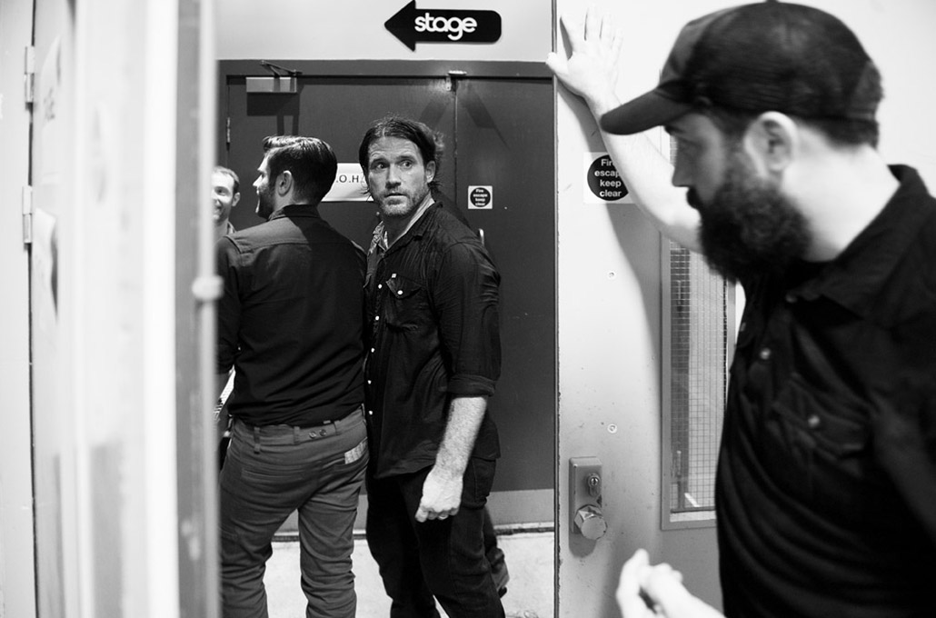 Chuck Ragan of The Revival Tour photographed back stage by Marcus Maschwitz