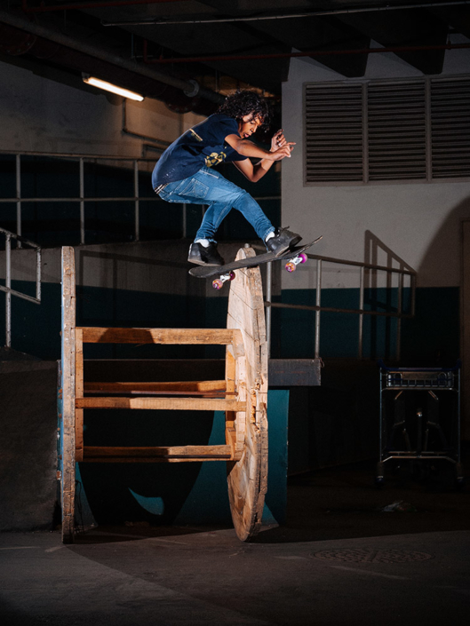 Braxton Haines frontside boardslides a big reel inside the airport in Johannesburg