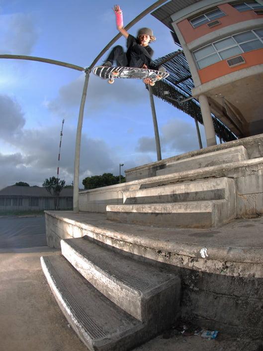 Braxton Haines stalefish ollies off a big stair set in Durban