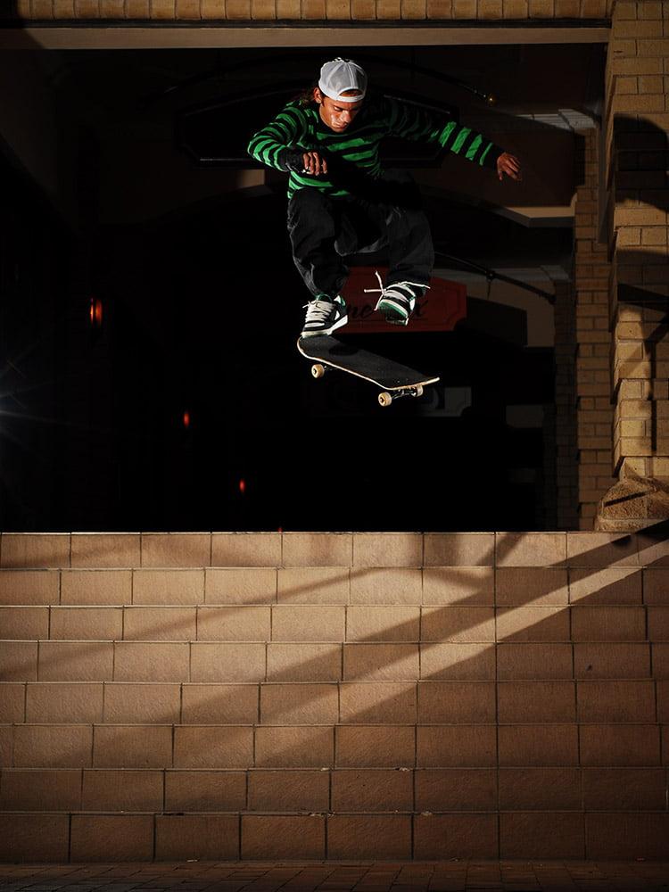 Charl Steyn halfcab heelfips down a set of stairs in Bloemfontein