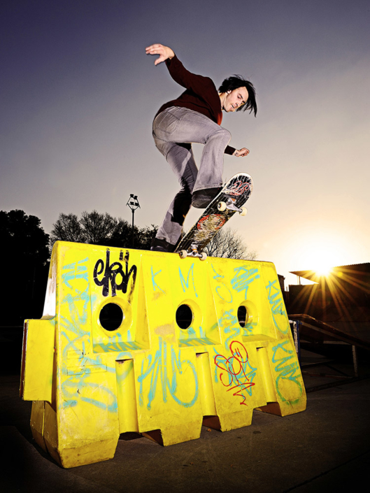 Dean Marais front blunt on a construction barrier in Johannesburg