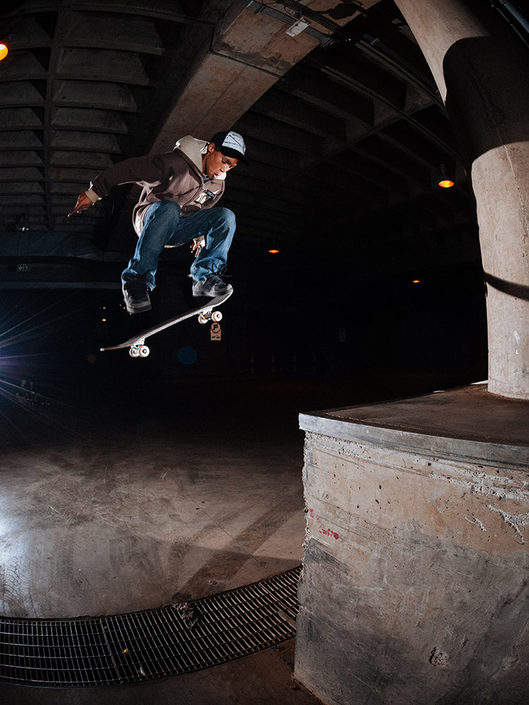 Moses Adams nollie bigspins off a ledge in Johannesburg