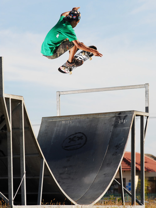 Moses Adams treflips out of a halfpipe in Cape Town