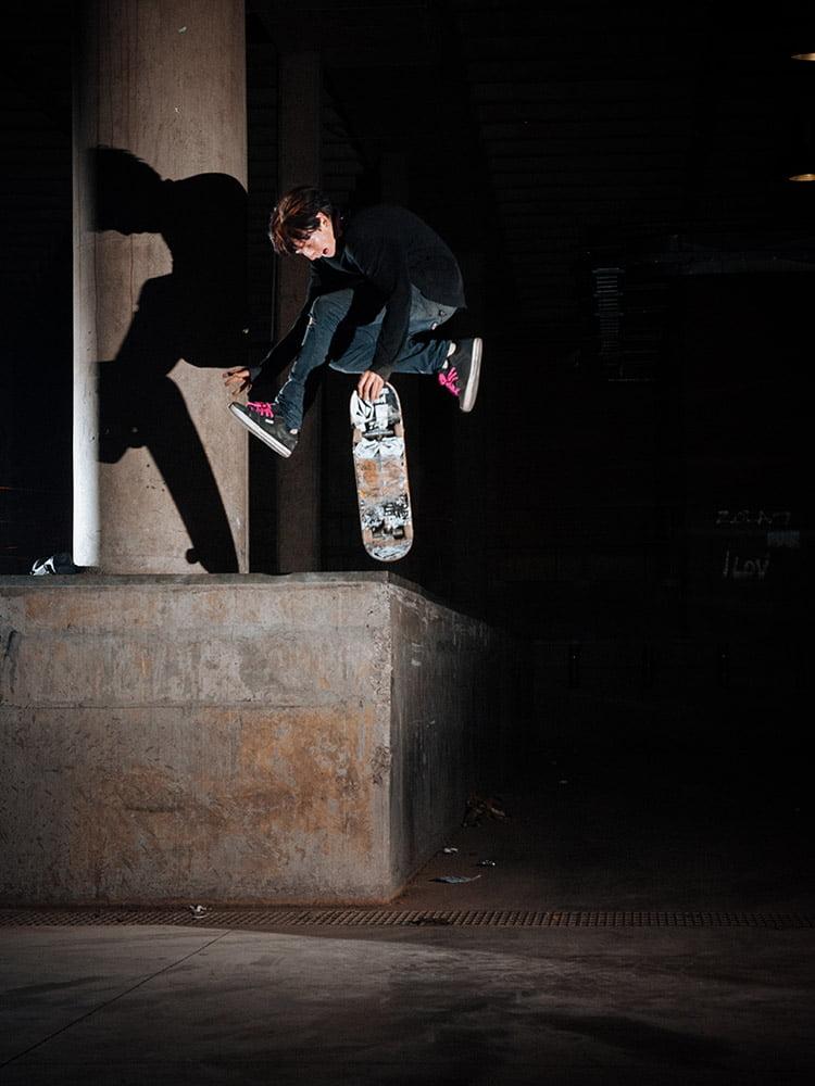 Simon Stiptich airwalks off a ledge in Johannesburg