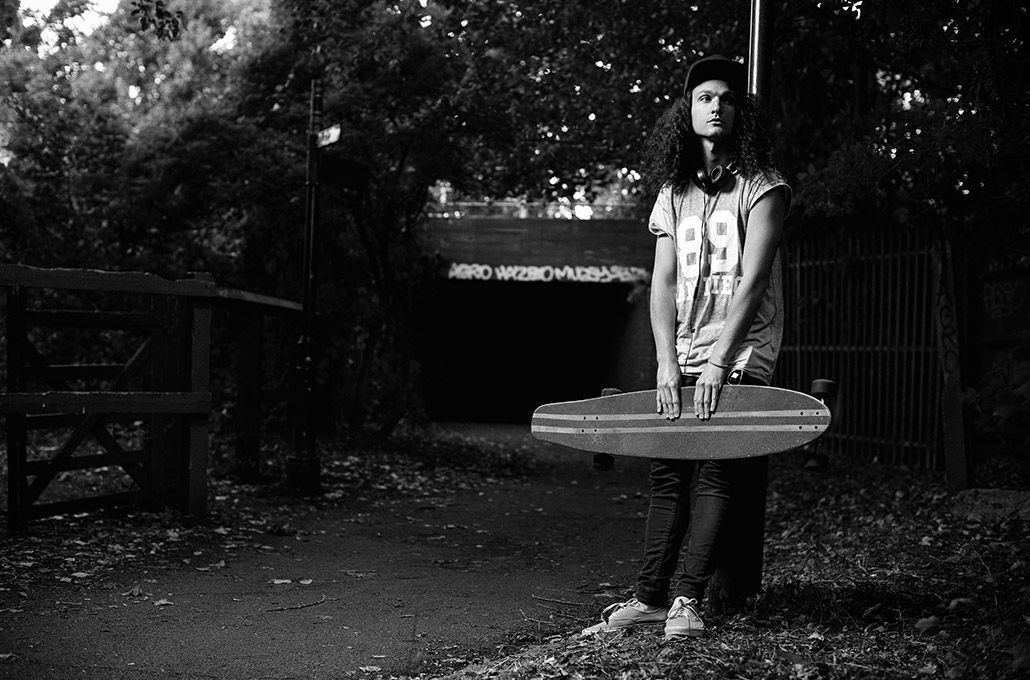 Adam Jenkins longboarding in London photographed by Marcus Maschwitz