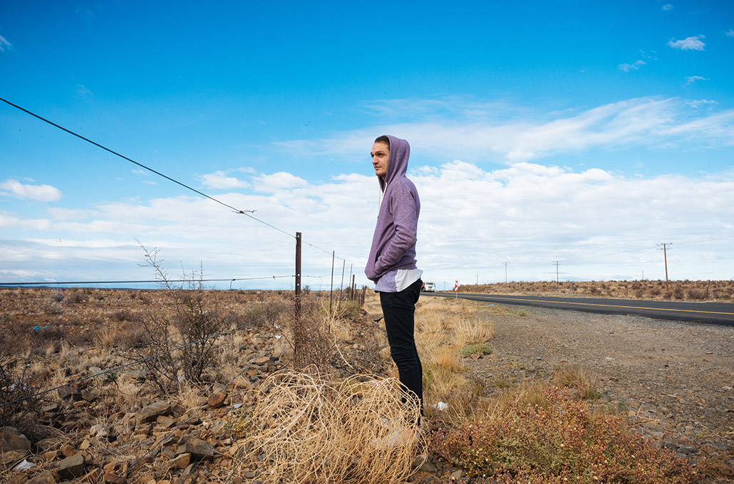 Adam Jenkins on the roadside during tour photographed by Marcus Maschwitz
