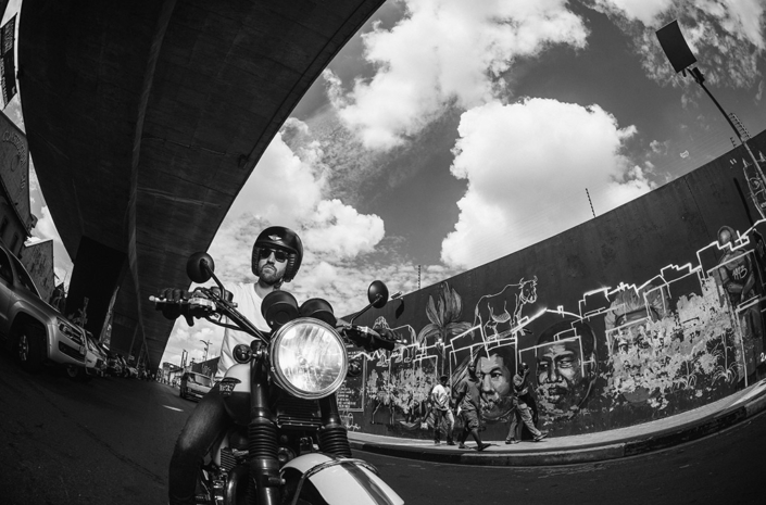 Alan Shenton on his Triumph in Johannesburg photographed by Marcus Maschwitz