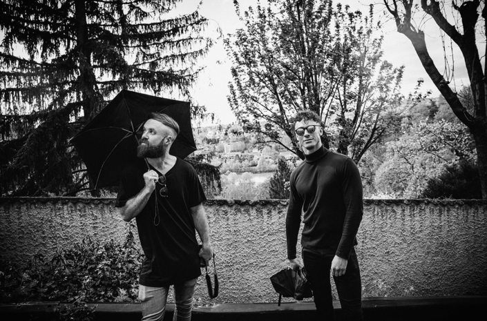 Simon Delaney and Rob Damiani of Don Broco in France photographed by Marcus Maschwitz