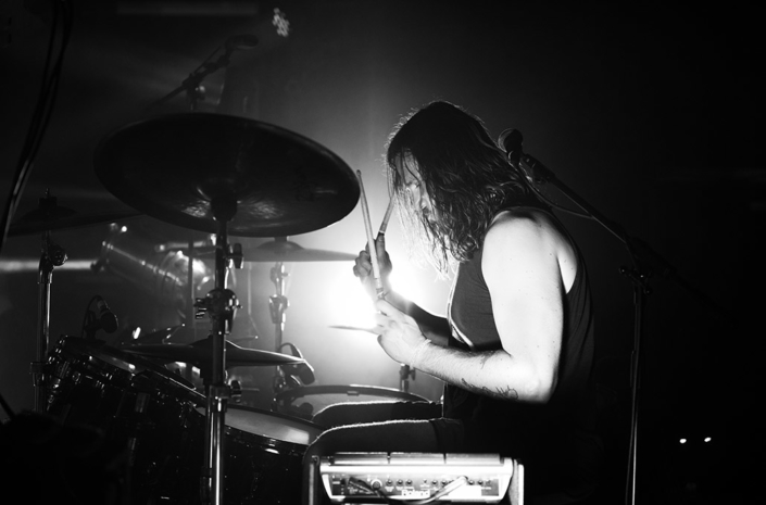 Gareth Lawrence of The Blackout playing drums photographed by Marcus Maschwitz