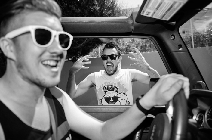 Gavin Butler and Sean Smith of The Blackout messing around in a car photographed by Marcus Maschwitz