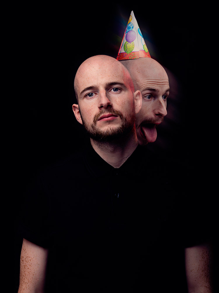 James Davies of The Blackout double exposure portrait photographed by Marcus Maschwitz