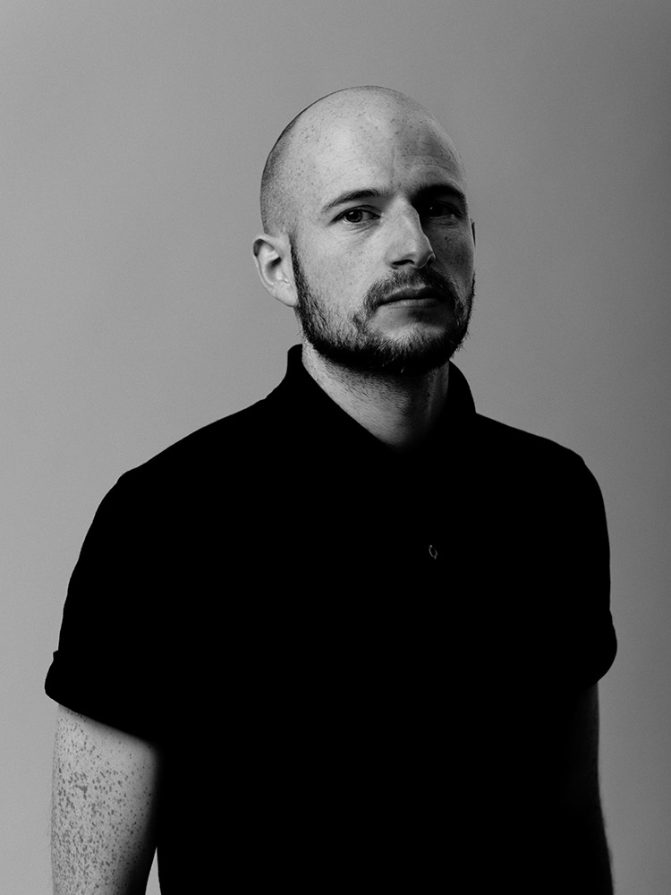 Black and white portrait of James Davies of The Blackout photographed by Marcus Maschwitz