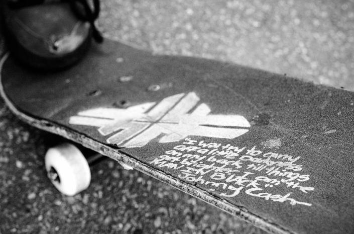 Johnny Cash lyrics on a skateboard photographed by Marcus Maschwitz