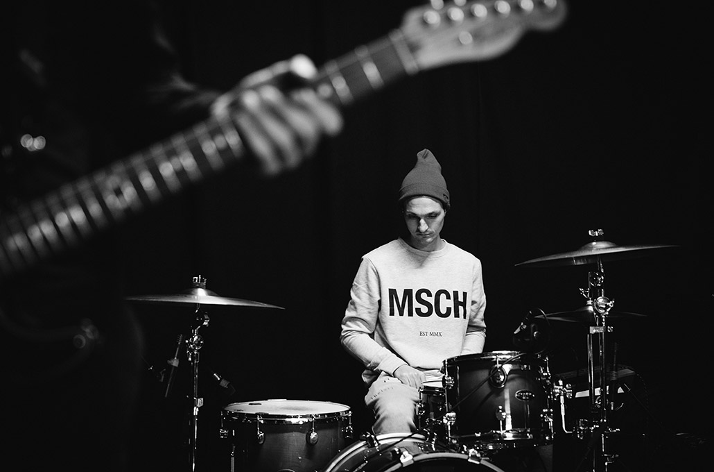 Adam Jenkins of New Volume at his drums during soundcheck photographed by Marcus Maschwitz
