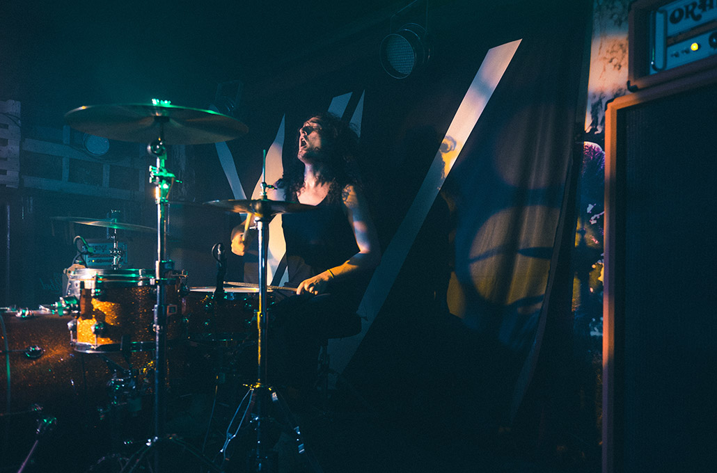 New Volume's Adam Jenkins drumming on tour in SA photographed by Marcus Maschwitz