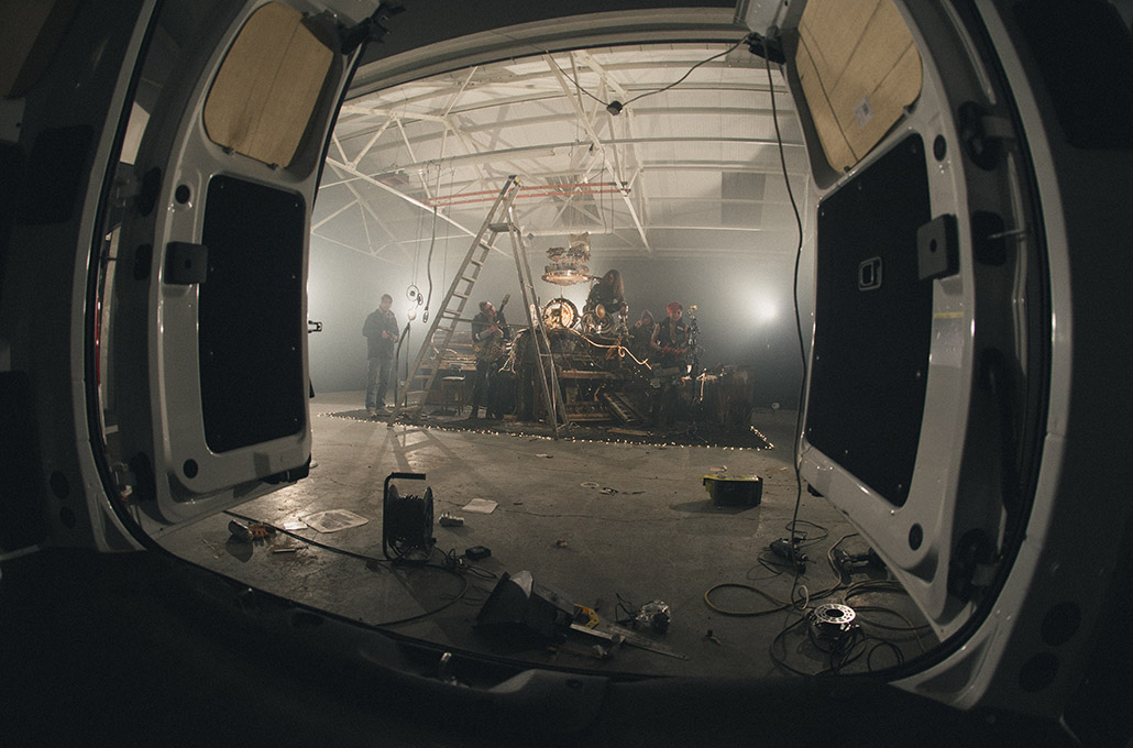 ILCK on set props in a warehouse photographed by Marcus Maschwitz