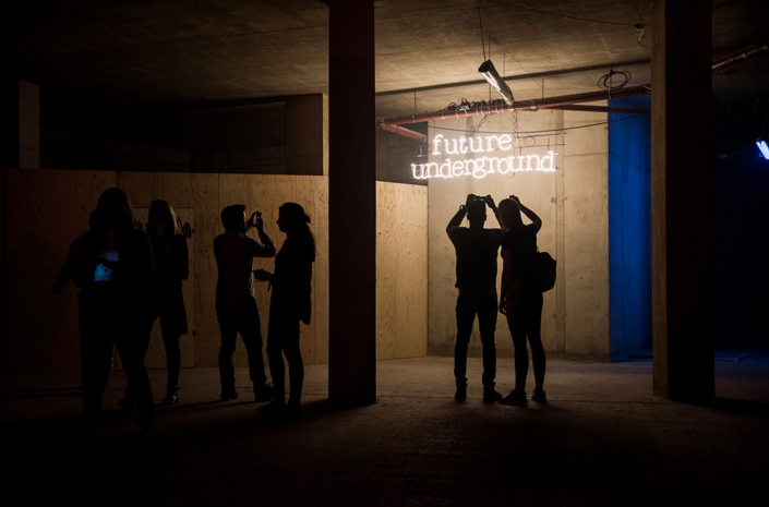 Red Bull Future Underground neon signage photographed by Marcus Maschwitz