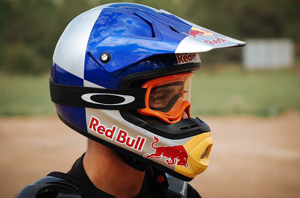 Red Bull FMX rider Sick Nick De Wit close up portrait photographed by Marcus Maschwitz