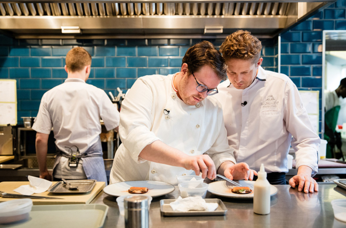 Red Bull The Clove Club Isaac McHale and Marin Klein plating up in the kitchen photographed by Marcus Maschwitz