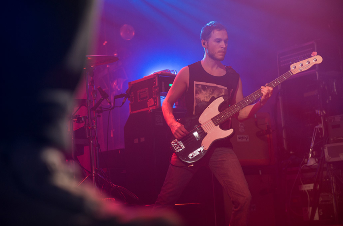 Rhys Lewis of The Blackout live on stage photographed by Marcus Maschwitz
