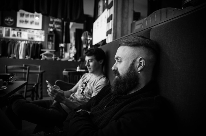 Simon Delaney and Tom Doyle of Don Broco drinking coffee in France photographed by Marcus Maschwitz