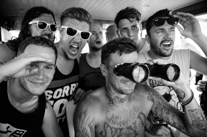 The Blackout with Captain Pritchard on a boat in Ibiza photographed by Marcus Maschwitz