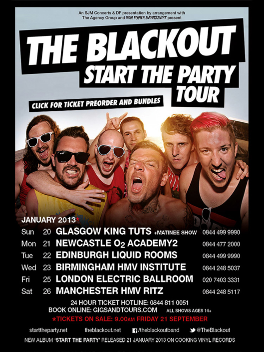 The Blackout Start The Party tour poster photographed by Marcus Maschwitz