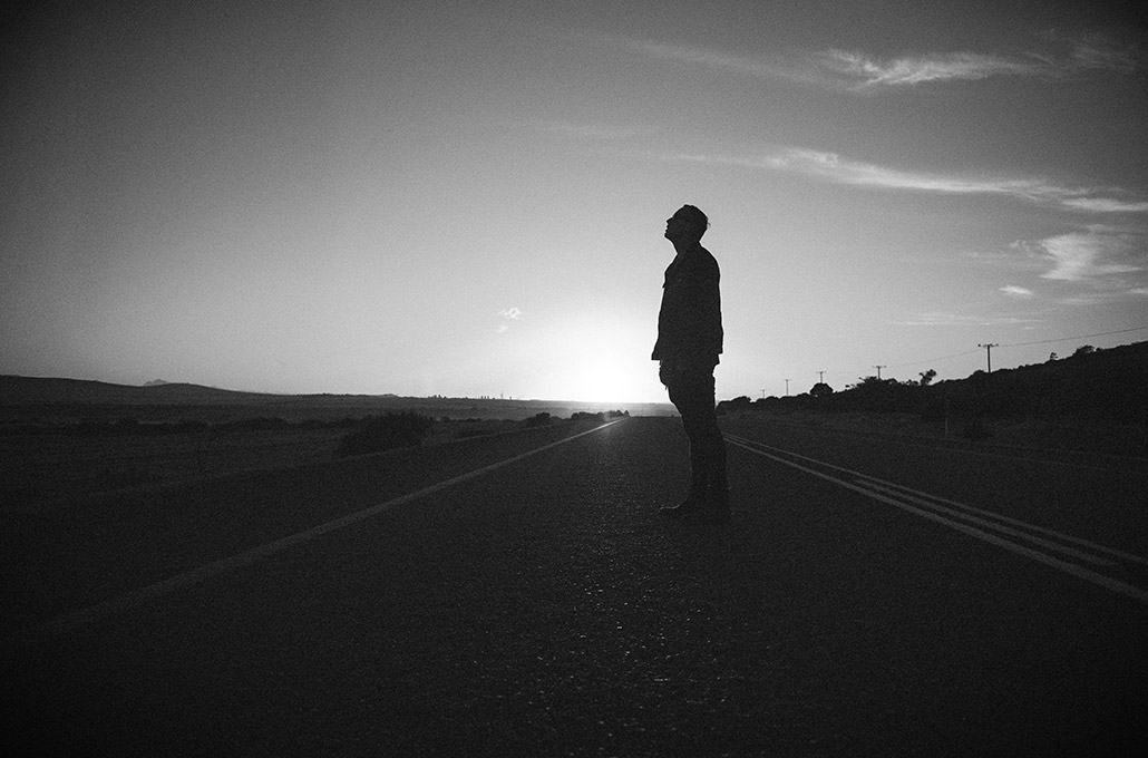 Tyron Layley morning silhouette on the road photographed by Marcus Maschwitz